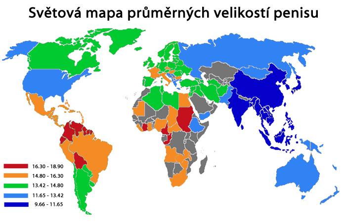 Mapa průměrů penisu