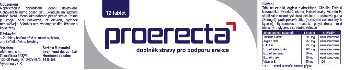 Proerecta - Složení produktu na zlepšení erekce